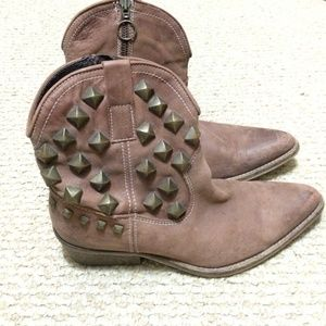 Shoes - Brown studded booties.