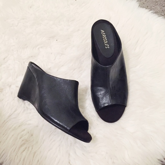 Aerosoles Shoes Black Peep Toe Wedge Mules Poshmark