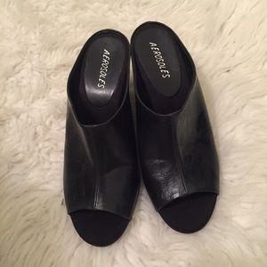 31d09286e3902 AEROSOLES Shoes | Black Peep Toe Wedge Mules | Poshmark