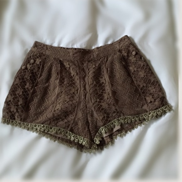 Miss Me - Miss Me Brown Lace Shorts from The glam room's closet on ...