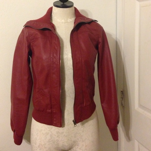 Red Leather Jacket Forever 21 Red Faux Leather Bomber Jacket