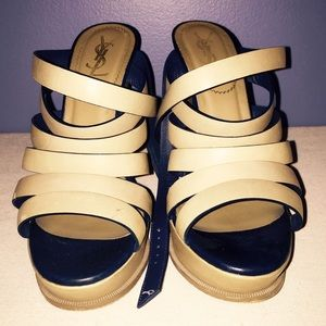YSL khaki/navy wedges