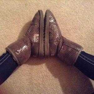Ugg grey silver metallic boots
