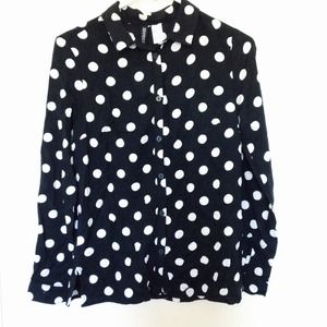 Tops - White Polka Dotted Black Blouse