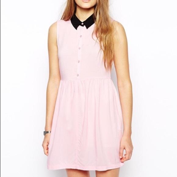 Asos Dresses Pink With Black Collar Skater Dress Poshmark