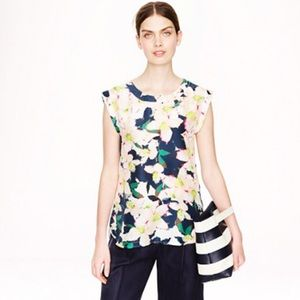 J Crew Sleveless Drapey Top in Floral Cove