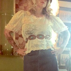 Sheer lace Vintage puff sleeve blouse too shirt