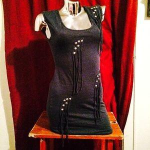 Gorgeous vintage fringe & stud dress