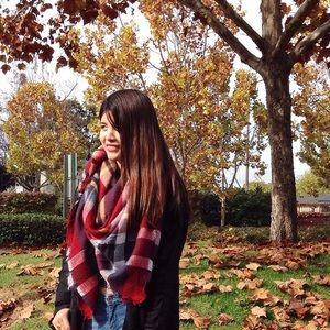 Zara red plaid tartan blanket scarf