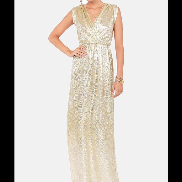 Lulu\'s Dresses | Metallic Gold Maxi Dress Bridesmaid | Poshmark
