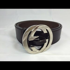 Authentic Gucci dark brown leather belt. NWOT.