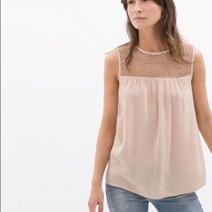 Zara Tops - NWT Zara Combined Guipire Top Blouse Nude XS