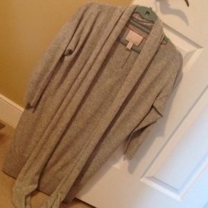 Grey cashmere sweater dress with matching scarf