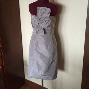 J. Crew Silver Gray Strapless Silk Party Dress 6
