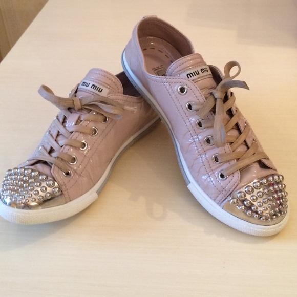 447a48cd26e1 Miu Miu Patent Stud Toe Sneakers in Nude Patent. M 54d7a183fbf6f90c8101a6c8