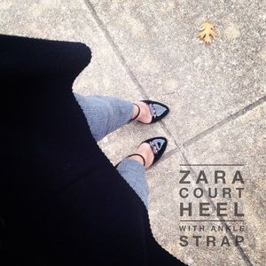 Black Patent Court Heel with Ankle Strap by ZARA