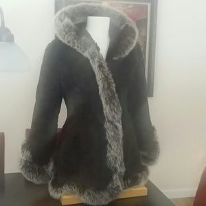Russian leather coat with rabbit fur