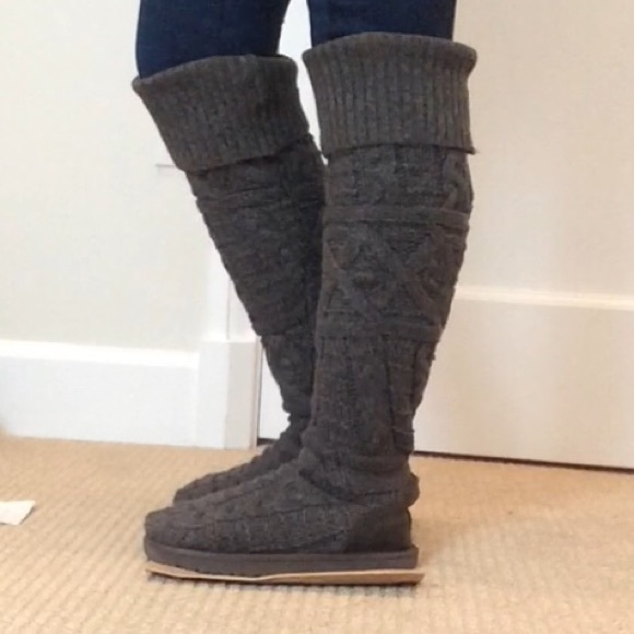 Grey knit UGG knee high boots