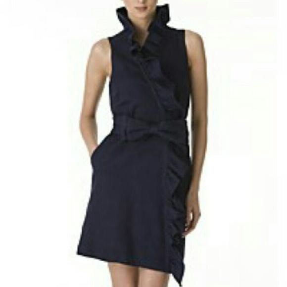 12ae97a6 Milly Dresses | Bloomingdales Navy Ruffle Dress Bow Belt | Poshmark