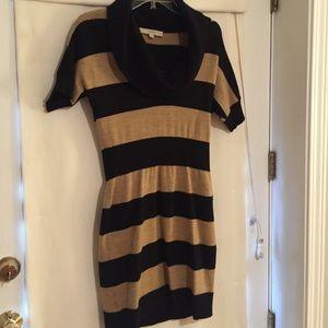 LOFT Black and Camel Striped Sweater Dress