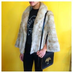 SOLD! Vintage faux fur Cape with pockets