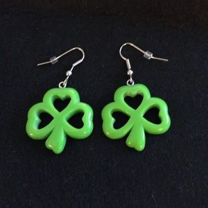 Lime green shamrock earrings!