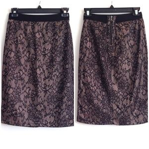 XOXO Dresses & Skirts - Black + Champagne Lace Pencil Skirt