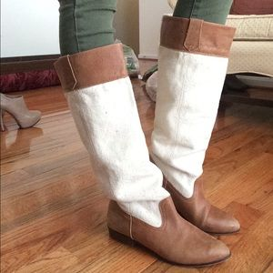 ZARA TRF canvas and leather boots