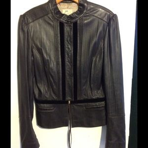 June chocolate brown leather jacket