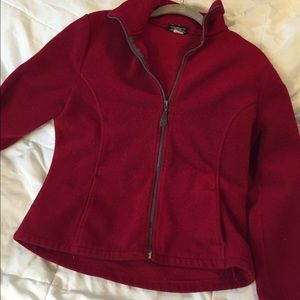 Red fleece zip down jacket medium