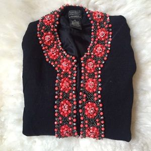 Lucky Brand Sweaters - Lucky Brand Embellished Black Cardigan Jacket