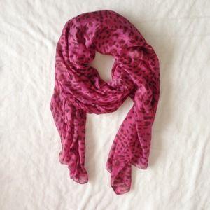 Free People Accessories - Free People Pink Leopard Silk Scarf