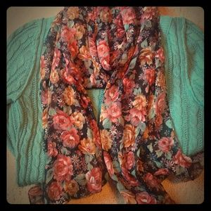 Vintage inspired floral scarf and teal sweater