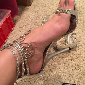 Shoes - Rhinestone ankle strap heels