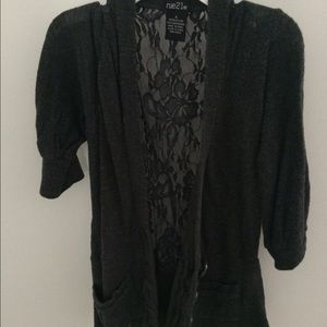 Sweaters - Lace back charcoal gray cardigan