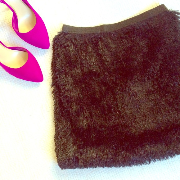 NWT Fun, Furry Black Mini Skirt