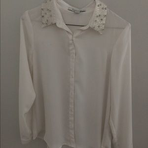 Tops - Forever 21 blinged out collar button up blouse