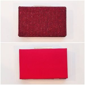 JustFab Handbags - Red Embellished Box Clutch