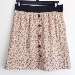 Autumn Colored Floral Print Skirt