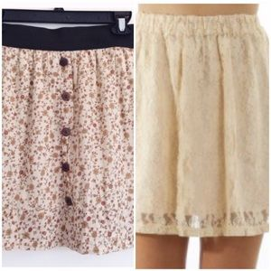 Dresses & Skirts - BUNDLE: Cream Lace Skirt + Floral Print Skirt