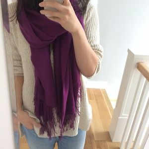Accessories - Violet purple silk cashmere scarf or stole