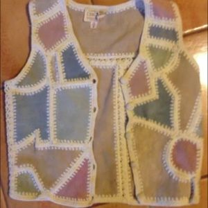 Crochet knit vintage leather patchwork VEST TOP