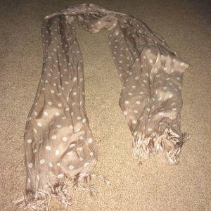 Accessories - Beige/cream polka dot scarf