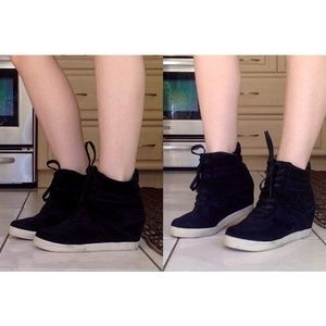Steve Madden Black Wedge Sneakers
