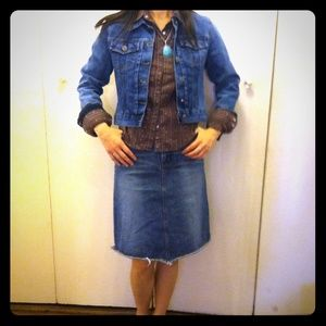Bundle SALE!Cool jean skirt+jean jacket+shirt