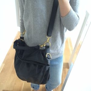 Handbags - Black faux leather handbag with gold hardware