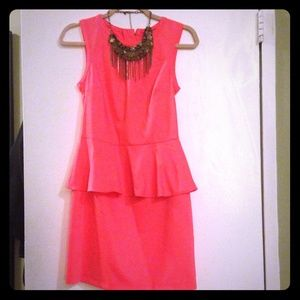 NEW with tags! Bright coral peplum dress
