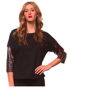Kissue Sweaters - Black Knit Top + Spiked Faux Snakeskin Sleeves