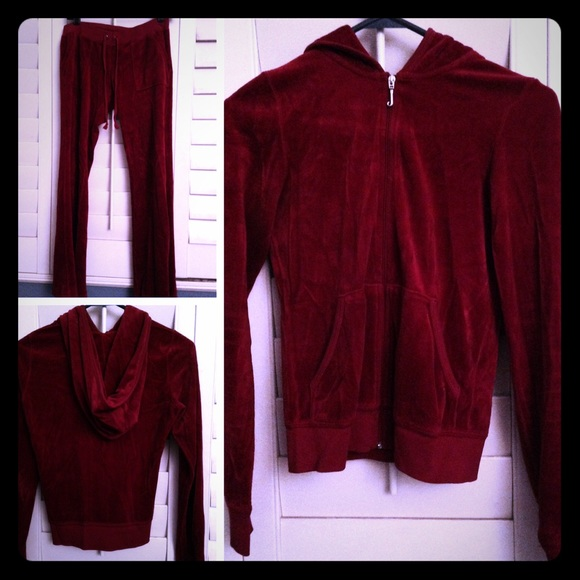 80eae22d2b46 Juicy Couture Jackets   Blazers - Juicy Couture petite burgundy velour  tracksuit.