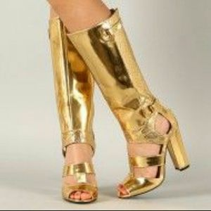 Gold gladiator open toe boots👡👠👢👢Halloween